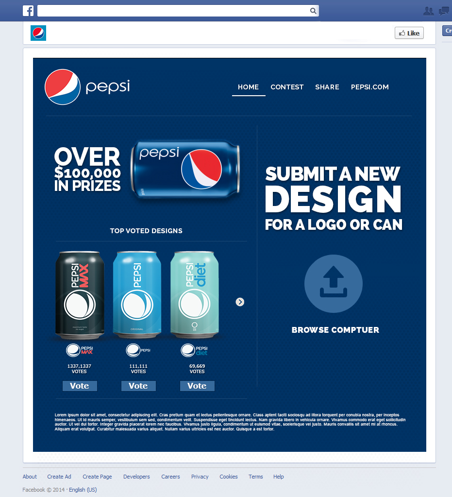 sweepstakes app pepsi website mobile facebook app design yikes it s mikes 3634